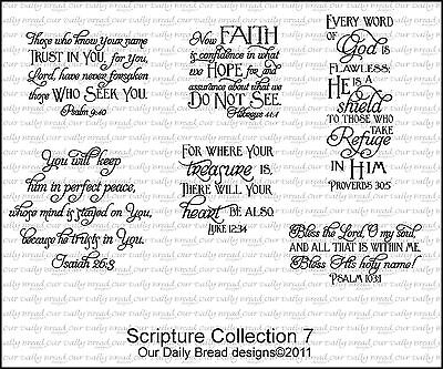 Our Daily Bread Designs Cling Stamp Set Scripture Collection 7 Bible Verses D202