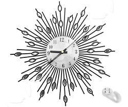 K2 Modern Diamante Beaded Jeweled Sunburst Silver 33cm Wall Clock