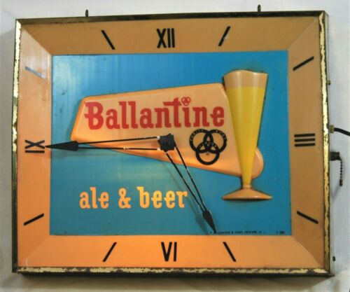 Vintage Ballantine Ale & Beer (working) Clock - P Ballantine & Sons Newak N. J.