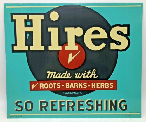 Vintage Hires Root Beer Painted Metal Sign Made With Roots Barks Herbs USA BN6