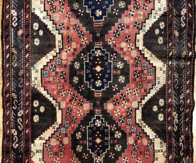 Terrific Tribal - 1960s Antique Oriental Rug - Nomadic Carpet - 4.9 X 8.2 Ft.