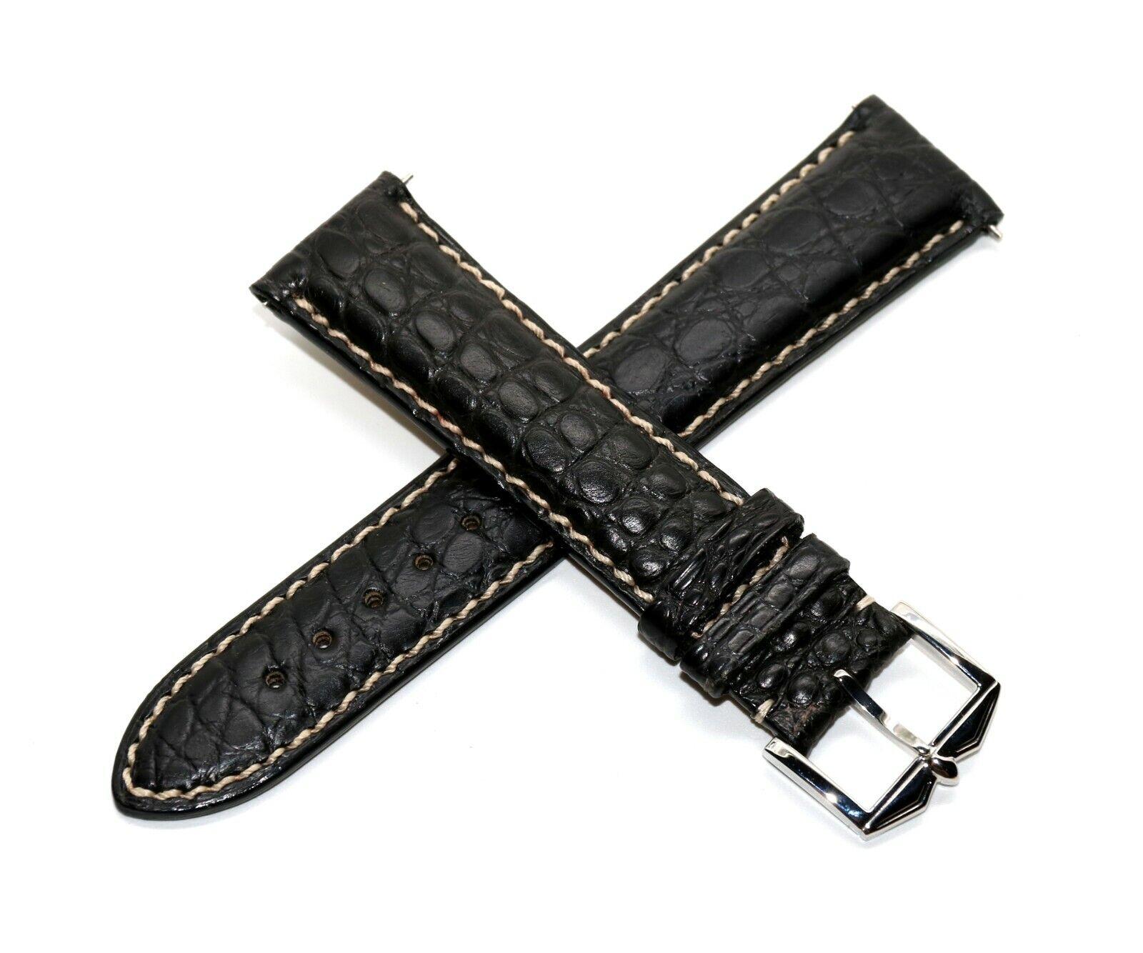 Rotary 21 mm Echt Alligatorenleder Uhrenarmband Schwarz Helle Naht mit Silberner Schliesse.