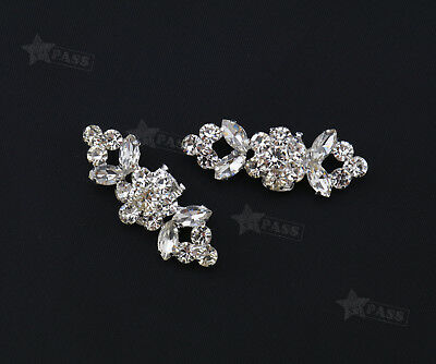 2x Charm Crystal Rhinestone Buckle Diamante Wedding High Heel Shoe Clips Decor