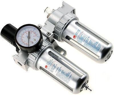 "1/4"" BSP Air Compressor Moisture Trap Oil Water Filter Regulator Lubricator"