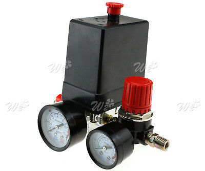 14 Air Compressor Pressure Control Switchvalve Manifold Regulator Gauges