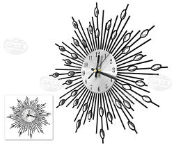 Modern Metal Wall Clock Flower Diamond Crystal Large Silent Home Office Décor