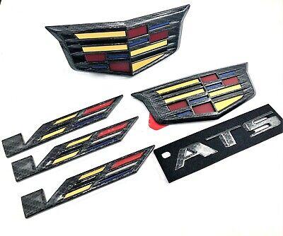 Cadillac ATS V Black Carbon Fiber Emblem Set 16-19 Genuine GM V OEM Package ATSV