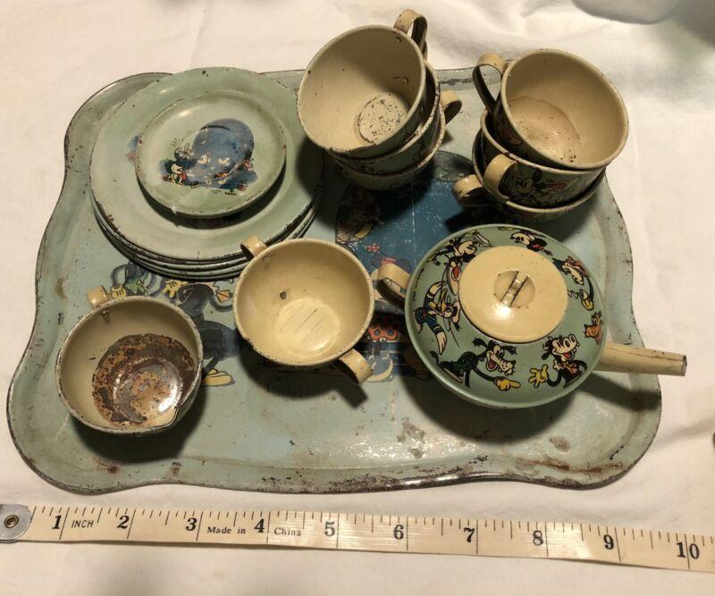 1930s OHIO ART DISNEY TIN LITHO TEA SET MICKEY MINNIE PLUTO DONALD DUCK & MORE