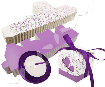 - 50PCS Wedding Baby Shower Favour Candy Boxes Party Boxes With Ribbons Purple