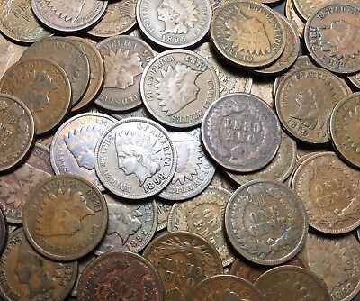Full Roll Of Indian Head Cents - 50 Pennies - Estate Lot 1800's & 1900's