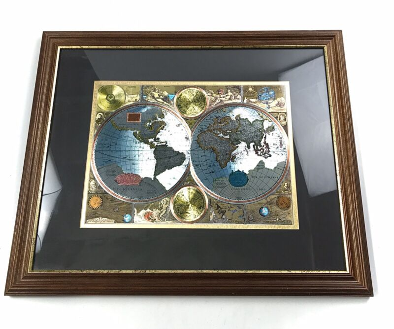 """A New And Accvrat Map Of The World 1626 , Foiled World Map, Framed 22.5 x 18.5"""""""