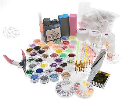 Nail Art Acryl Set Pinsel Pulver Nagelkunst Tips Acrylic Liquid Neu Groß!