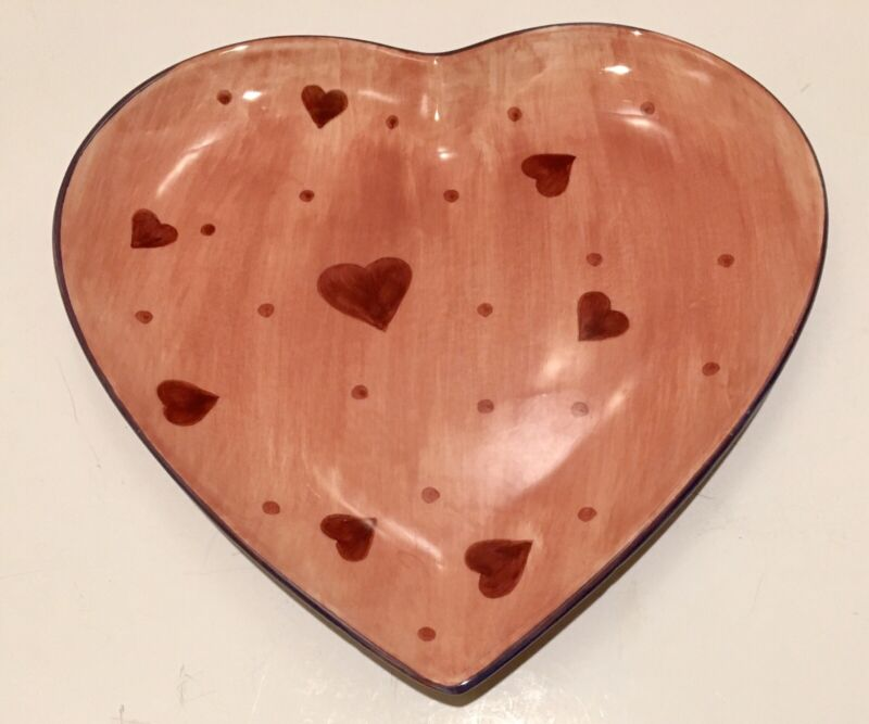 "Laurie Gates Gatesware Heart Shaped Valentines Day 10"" Plate Pink Red Purple"