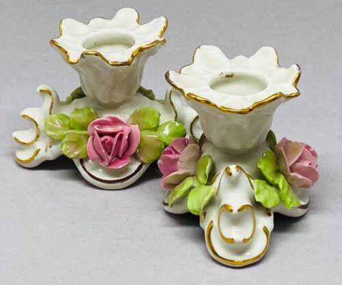 Antique Dresden Germany Candle Holders Candlesticks Roses Porcelain