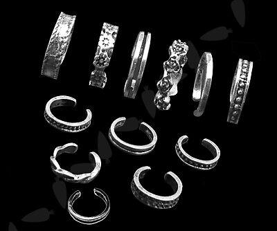 Set of 12 Adjustable Silver Plated Carved Flower Knuckle Toe Finger Foot Ring Adjustable Ring Setting