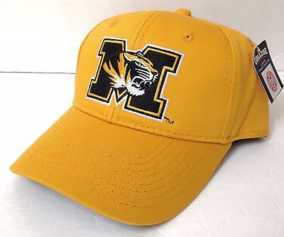 New MISSOURI TIGERS HAT Men/Women STRUCTURED-FIT Curved Snapback Yellow Mizzou