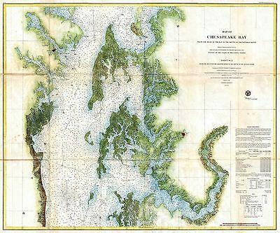 1857  US Coast Survey Chart or Map of the Chesapeake Bay
