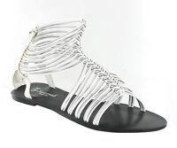 Savannah Blanco Gladiador Plano Tiras Cremallera Mujer Sandalias De Verano -  - ebay.es