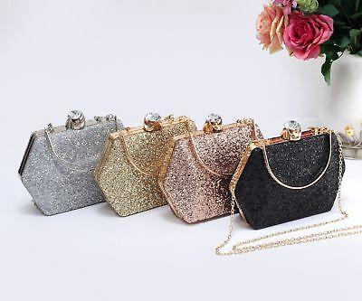Women's Glitter Hexagon Hardcase Diamanti Evening Clutch Purse Pouch Bag Handbag