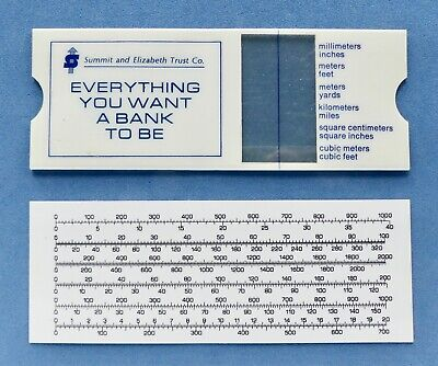 VTG SUMMIT & ELIZABETH TRUST CO. BANK PLASTIC SLIDE RULE MEASUREMENT CONVERTER