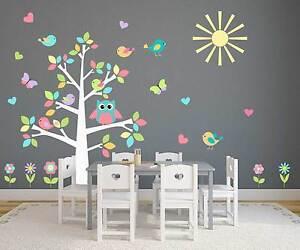 Nursery owl tree pastel wall sticker decal baby room playroom butterflies birds ebay - Arbre stickers chambre bebe ...