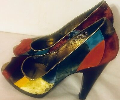 COACH DIEDRA PUMPS ITALY MULTI VELVET LOGO PLATFORM PEEP TOE SHOES G239 SZ 7 B