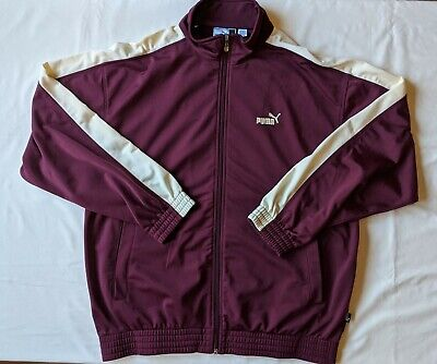 PUMA Men's Maroon Track Jacket Full Zip Up Long Sleeve Athletic Size L