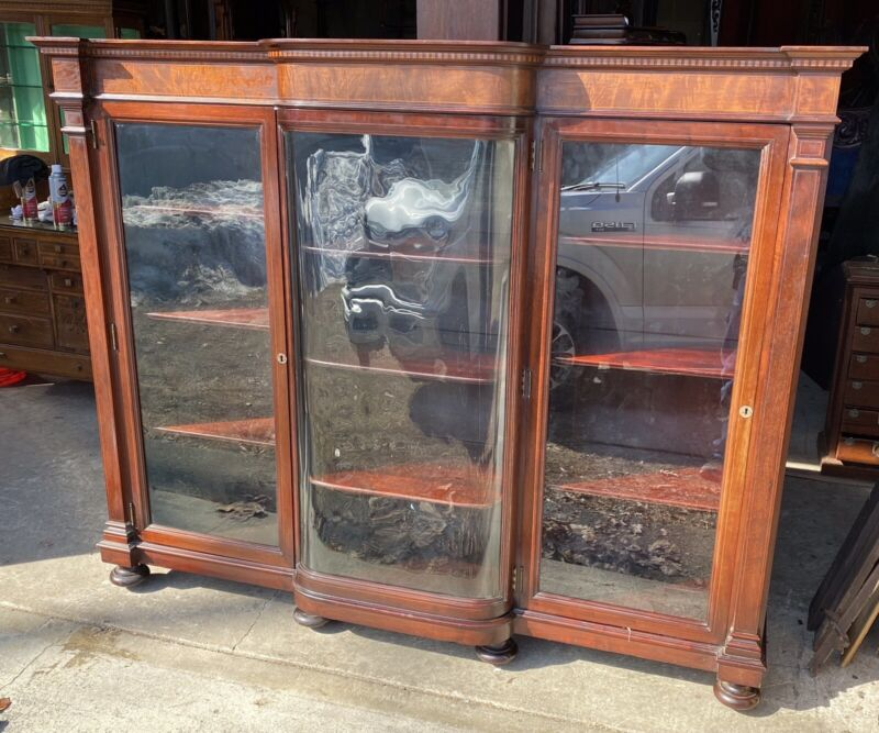 R. J. HORNER MAHOGANY 3 DOOR INLAID BOOKCASE