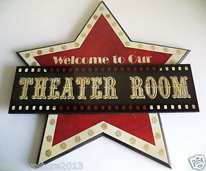 theater room movie wall plaque welcome art sign cinema