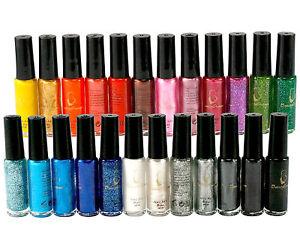 Mix 24 Diff Soid Pure/Glitter Colors Nail Art Tips Brush Pen Varnish Polish L382