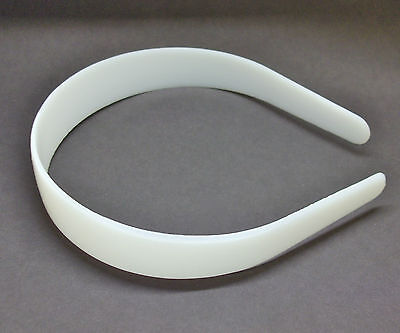 "12 White Plastic Headbands 25mm 1"" Craft Bulk Head Hair Band Shatterproof"