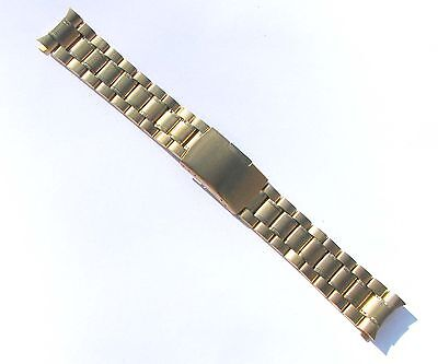 (20mm High Quality Stainless Steel Watch Band Gold-Tone Curve End Solid Links)