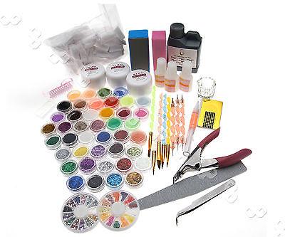 Schönheit Nail Art Acryl Set Pinsel Pulver Nagelkunst Tips Acrylic Liquid Groß!