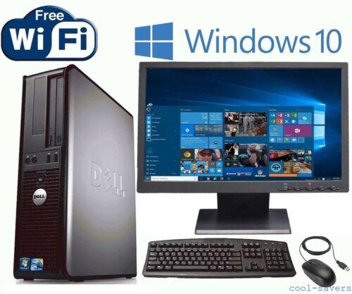 """Dell Desktop PC Computer Win 10 3.4GHz Dual Core 4GB 19"""" LCD Monitor WiFi DVD"""