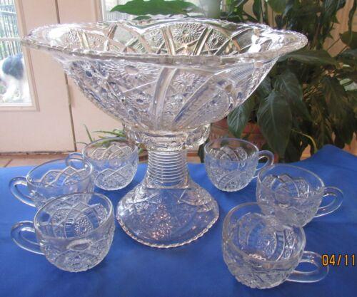"Circa 1910 McKEE GLASS Fentec Flared PUNCH / EGGNOG BOWL & 12 Matching 2"" CUPS"