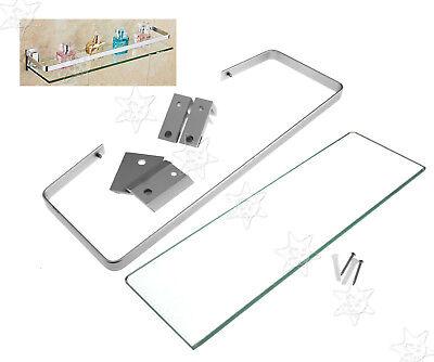 35cm Bathroom Washroom Chrome Brass Shower Caddy Shelf Base With Glass Tier - Brass Bathroom Glass Shelf