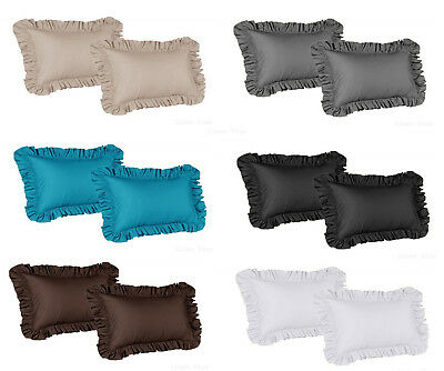 2 Piece Ruffled Shams Solid Cover Case Decorative Pillow King OR Standard -