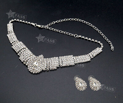 Bridal Diamante Crystal Earrings Necklace Set Jewelry Wedding Evening Parties