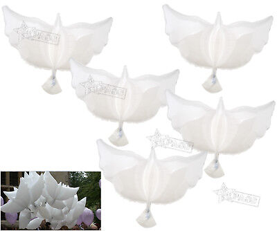 5Pcs White Flying Dove Model Helium Foil Balloons Party Memorial Ceremony Decor