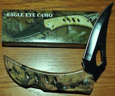 Eagle Eye Forest Camouflage Folding Pocket Knife Lockback Stainless Steel Camo Eagle Steel Knife