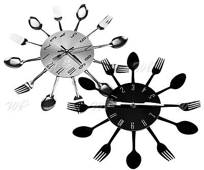 Wall Clock Spoon Fork Creative Quartz Cutlery Metal Kitchen Modern Design Decor ()