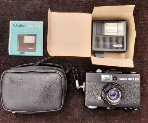 Rollei 35 LED Black 35mm Film Camera 40mm f/3.5 Triotar Lens w/ Flash & Case
