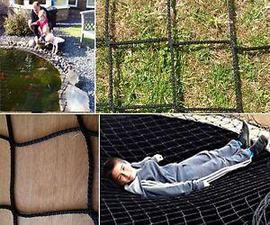 Sm 3m x 2m black super nets child safety garden pond for Garden pond safety covers
