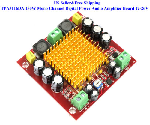 TPA3116DA 150W Mono Channel Digital Power Audio Amplifier Board 12-26V XH-M544