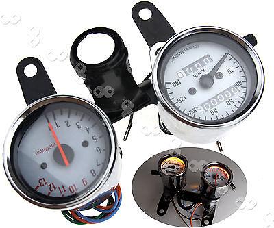 12V Universal Motorcycle Odometer & Tachometer Speedometer Gauge + Black Bracket