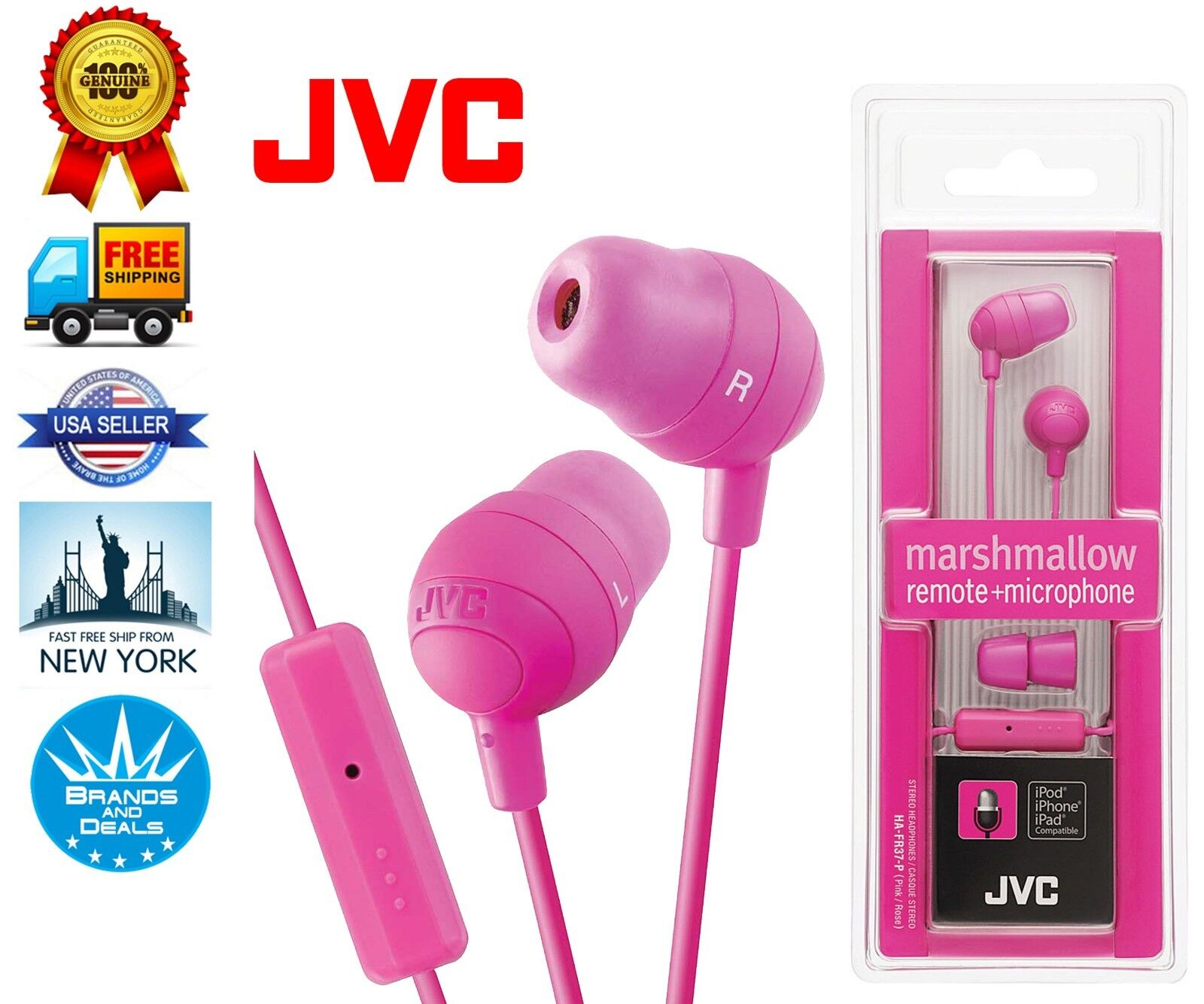 JVC Marshmallow HA-FX32 Earphone - Stereo - Pink - Mini-phon