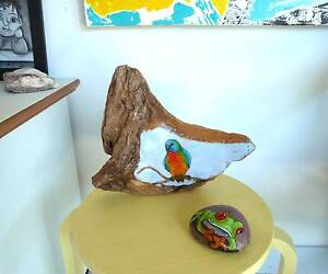 Hand-painted Driftwood, Red Bellied Parrot, animal lover gift Palm Beach Gold Coast South Preview