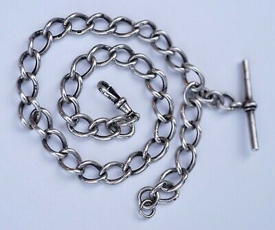 Handsome Prince Albert Solid Sterling Silver Antique Pocket Watch Chain 42.9g
