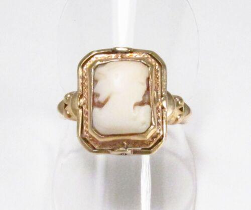Vintage 1930s Era Art Deco Cameo 10K Gold Garnet Secret Flip Ring Sz 7.5 As-Is