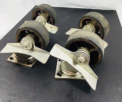 4 Vintage Industrial Cart Plate Caster Wheels Faultless Iron 1400-5 5 X 2